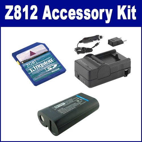 Kodak Z812 IS Digital Camera Accessory Kit includes: SDM-181 Charger, KSD2GB Memory Card, SDKLIC8000 Battery