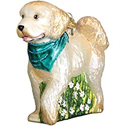 Old World Christmas Glass Blown Ornament with S-Hook and Gift Box, Dog Collection (Doodle Dog)