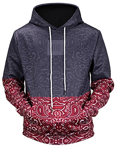 Paisley Hoody Sweatshirt - HOP FASHION Unisex 3D Digital Paisley Floral Print Hoodie Sweatshirts with Pockets HOPM064-08-XL