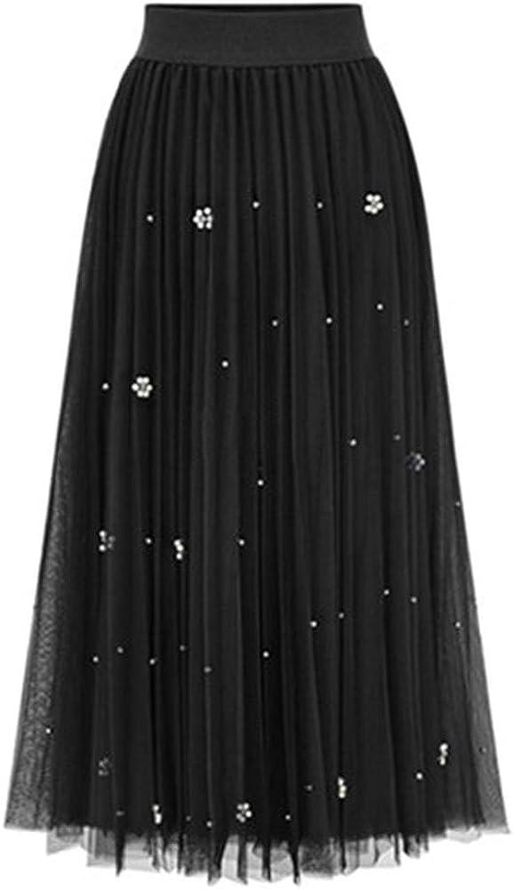 Faldas largas Tul Mujer con Perlas Elegante Vintage/QIjinlook ...