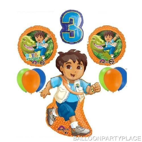 DELUXE GO DIEGO 3RD BIRTHDAY BALLOONS party supplies THIRD decorations dinosaur by Lgp - Go Diego Go Birthday Party