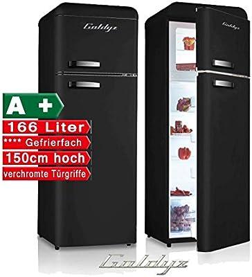 Retro Combi Negro A + nevera y congelador combinado Frigorífico ...