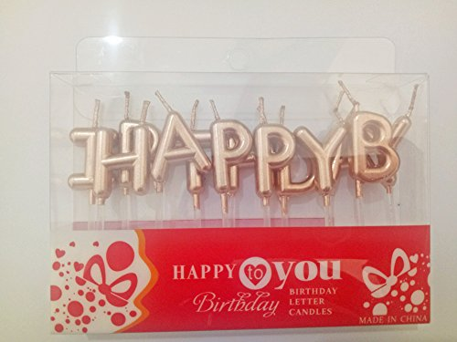 Chic Happy Birthday Metallic Letter Candle Cake Topper (Rose Gold)]()