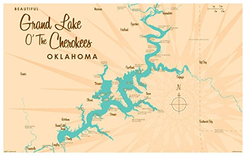 Grand Lake O' The Cherokees Oklahoma Map Vintage-Style Art Print by Lakebound (12