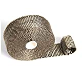 """Heat Exhaust Thermo Turbo Wrap Tape Exhaust Header Wrap kit Roll Heat Wrap 2"""" X 5M/10m Fireproof Cloth Roll Black 1022C Car Insulation RS-CR1006 (5M, Titanium)"""