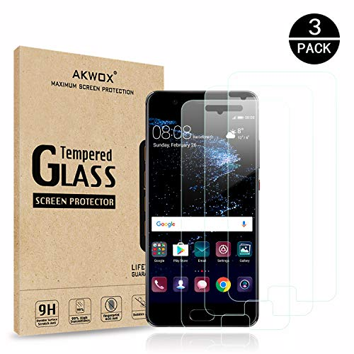 AKWOX (3-Pack) Tempered Glass Screen Protector for Huawei P10 Plus, Ultra Thin [0.3mm 2.5D High Definition 9H] Premium Clear Screen Protective Film for Huawei P10 Plus - with]()