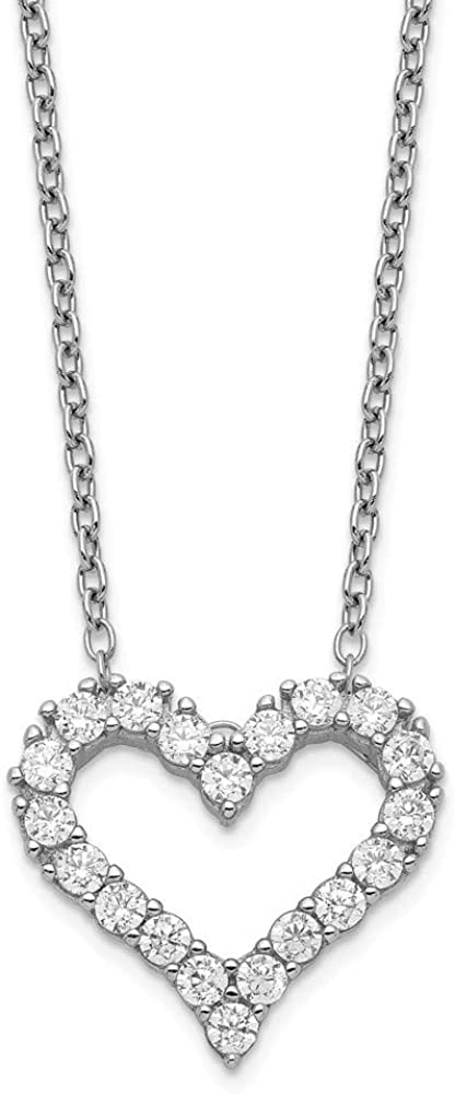 925 Sterling Silver Rhodium-plated Cubic Zirconia Heart With 2inch Ext Necklace 16 Inch
