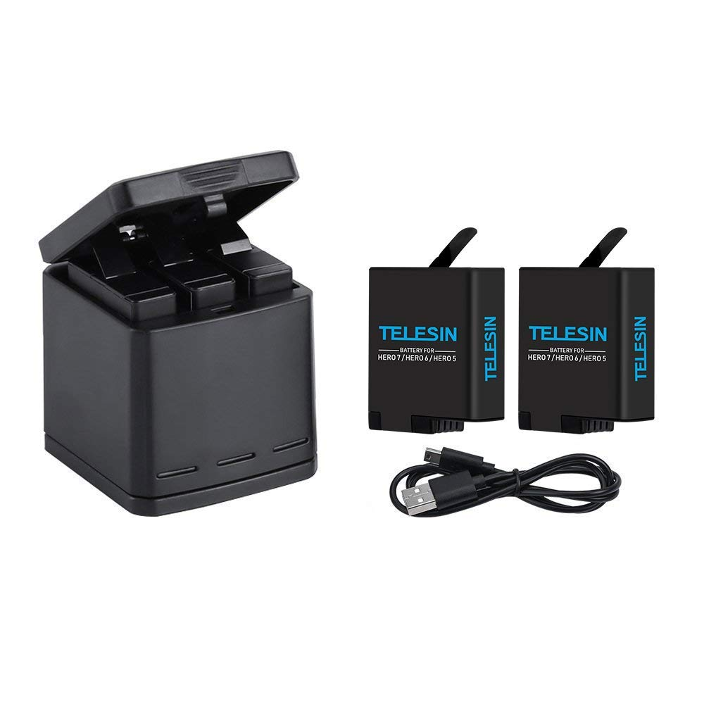 TELESIN Triple Charger Battery Kit for gopro, Battery Storage Charging Box with 2 Battery Pack Rechargeable Battery Replacement for GoPro Hero 2018, Hero 7 Hero 6 Hero 5 Black Action Camera by TELESIN