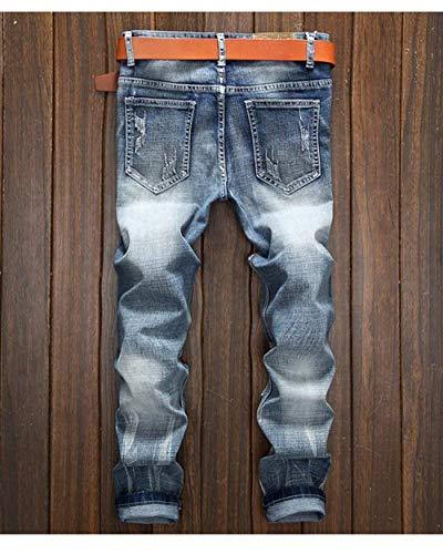 Fori Violenti I Jeans 88 Colore Chiaro Di Bobo Svago Uomini Dei Denim Allungano Degli Estilo Cher Pantaloni Blauwhite Especial Skinny Y56xAwf