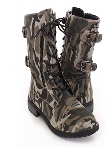 Womens Lace up Camouflage High Heel Combat Boots PNcGRZ1XVR