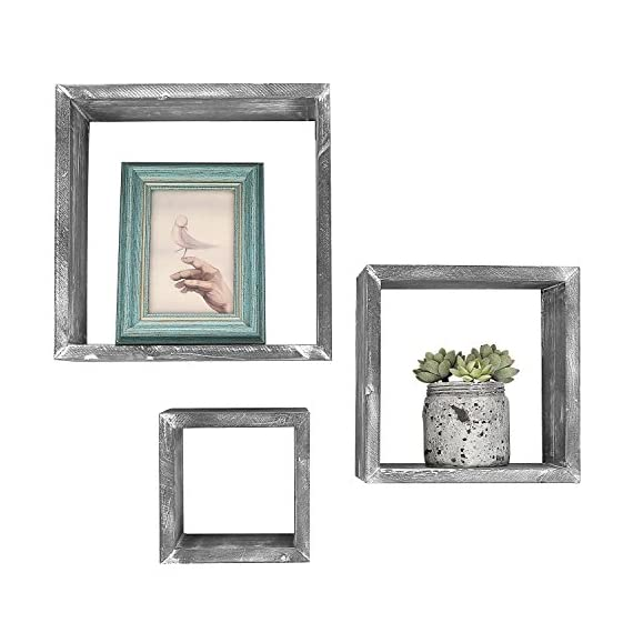 MyGift Barnwood Gray Wall Mounted Wood Shadow Boxes, Square Floating Display Shelves, Set of 3 - Set of 3 freestanding or wall-mountable wooden shadow boxes with a rustic barnwood-gray finish. Can be used to showcase keepsakes, collectibles, and awards, or for creating unique decorative displays. Each display shelf comes in a different size and can be grouped together to created a decorative wall collage or used separately. - wall-shelves, living-room-furniture, living-room - 51f3k5hLnEL. SS570  -