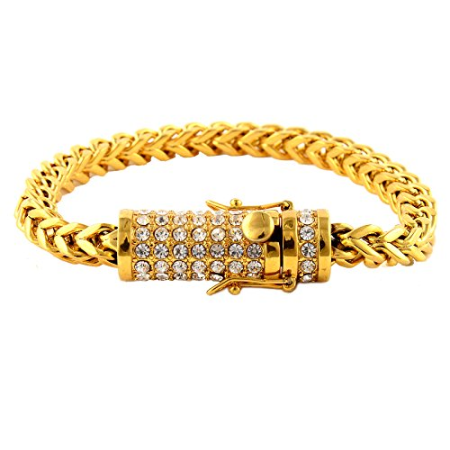 Liuanan Mens Biker Stainless Steel Full Diamond Dragon Curb Chain Bracelet Safety Clasp Gothic Cuff Bangle (Gold) - Gold And Diamond Cuff Bracelet