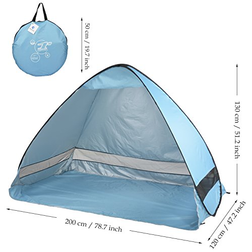 Oversized Pop UP Beach Tent Sun Shelters,Automatic XXL Lightweight Portable Family Anti UV Cabana(2 3 person),Set Up and Fold Up in Seconds