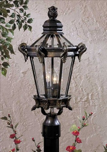Stratford Hall Five Light (Minka Great Outdoors 8935-95 Stratford Hall - Two Light Outdoor Post Mount, Heritage/Gold Finish with Clear Beveled)