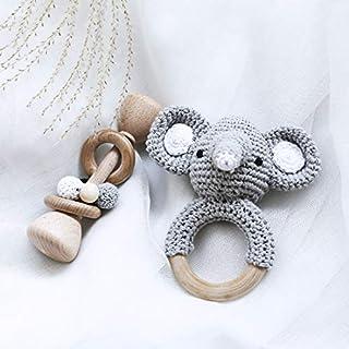 Classic Bundle Wooden Rattle + Crochet Elephant Pattern Teething Rattle Ring Set Montessori Toys Newborn Baby Gift - Gray