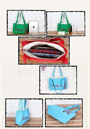 Canvas Stickerei Rucksack Handtaschen (Weiß) Rot CSEEeKai9