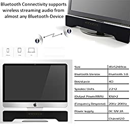 Powerful Soundbar for iMac, Mac, PC, Bluetooth Speaker with 3.5mm Line In, Micro USB interface, Amazing Sound, Super Bass, 3D Stereo Surround Sound 2.0 Channel, Home Cinema Music System (white)