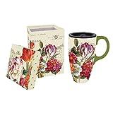 Best Gifted Living coffee mug - Garden View Flowers Ceramic Coffee Travel Mug Review