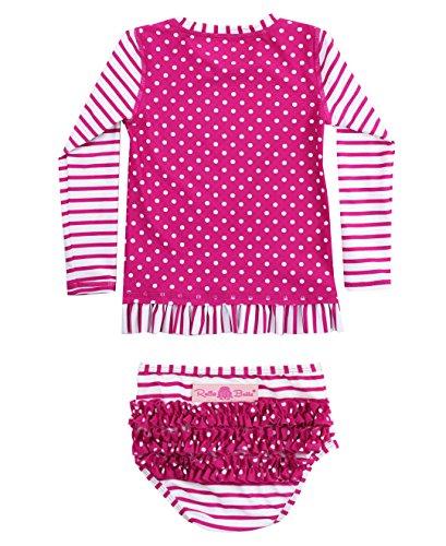 RuffleButts Girls Berry Striped Polka LS Rash Guard Bikini - Purple - 6