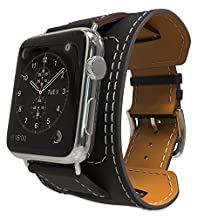 Apple Watch Band Series 1 Seris 2, MoKo Genuine Leather Smart Watch Band Cuff Strap Replacement for 42mm Apple Watch Models, BLACK (Not Fit 38mm Versions)