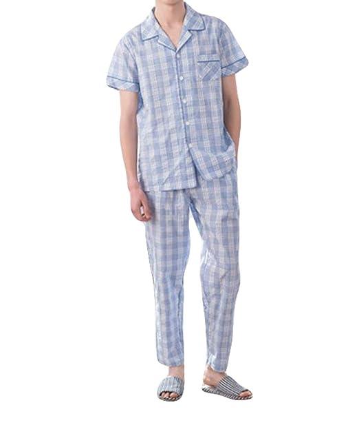 Pijamas para Hombre De Tejida Cuadros A Verano Simple Estilo De Rayas Pijama De Entrenamiento De