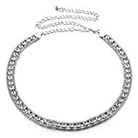 445 Ladies Waist Chain Charm Belt - Silver Colour with Diamante/Diamond - 48'' Length - Made from Metal - Adjustable - One Size By Trimming Shop