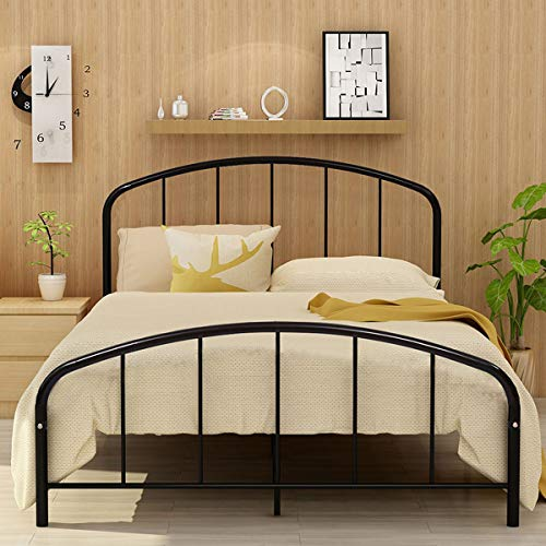 JURMERRY Metal Bed Frame Queen Bed Platform with Steel Headboard & Footboard Support Box Spring Black Queen Full Twin Mattress Foundation Double Beds (Queen, Black)