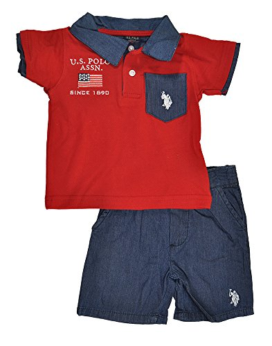 U.S. Polo Assn. Baby-Boys Infant Pique Polo and Chambray Short, Engine Red, 24 Months