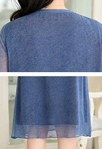 Fête Longue 3 Grande Manches S17126 Taille E Bleu Robe 4 long De Ajourée Knee girl Soirée Femme Soie fww0Hx4qY