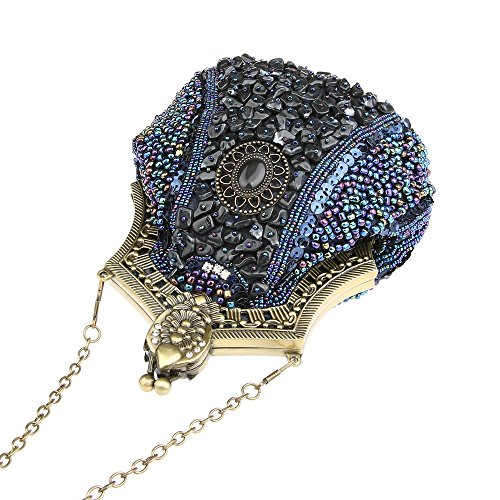 Handbag Clasp Clutch Evening Clutch Evening Blue Beaded Purse Bronze Beaded Antique KAXIDY Seed 0qw6xXI