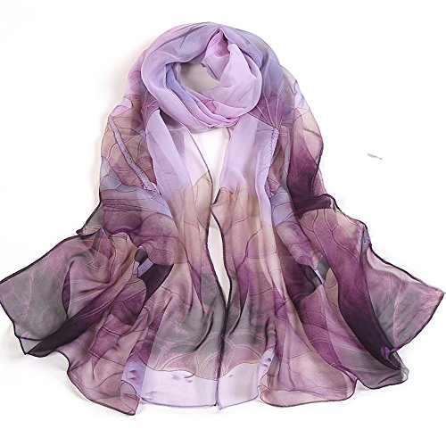 Ezyforu Women Scarves Silk Satin Pashmina Georgette Lotus Floral Summer Beach Oversize Shawl Wraps (Purple)