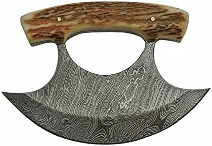 Damasco Ulu Cuchillo Con Mango De Hueso Y Lámina De Piel Kitchen Dining