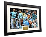 Kitbags & Lockers 2018/19 Season The Treble 12x8 A4 Signed Manchester City Guardiola De Bruyne Agüero Sterling Jesus Sane Autographed Photo Photograph Picture Frame Soccer Gift
