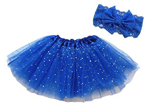[Dancina Tutu Headband Set Girls Sparkly Tulle Skirt w/ Bowknot Bandeu 2-4 years Royal Blue Glitter] (Megamind Costume For Sale)