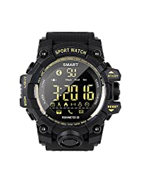 EX16S Rugged Outdoor Sports Smart Watch Bluetooth Activity Tracker Pedometer Steps Caloires DistanceStopwatch 50M Waterproof Running Walking Hiking, Long Standby time Compare iOS&Android