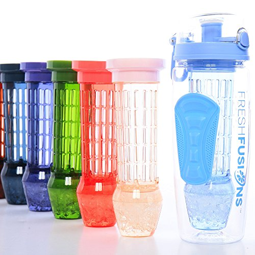 Fresh Fusions Fruit Infuser Water Bottle 32 oz Serenity Infusion Water Bottle For Sports Hydration - Comes With Insulated Sleeve + Bonus eBook w/ 25 Healthy Recipes - Now With New Freezer Ball