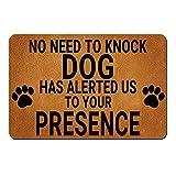 """ZBLX Doormat,Tdou No Need to Knock, Dog Has Alerted Us to Your Presence ,Floor Mat Rug Indoor/Outdoor/Front Door/Bathroom Mats Rubber Non Slip (30""""x18"""")..."""