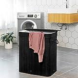 SONGMICS Bamboo Laundry Hamper, 100L Foldable