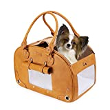 PetsHome Dog Carrier, Pet Carrier, Waterproof Premium Leather Pet Travel Portable Bag Carrier for Cat and Small Dog Home & Outdoor Small Brown