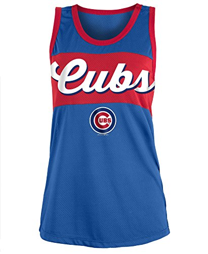 5th & Ocean Chicago Cubs Women's Script Stripe Polymesh Tank Top XX-Large