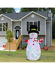 6 ft Christmas Inflatable Outdoor Smiley Snowman, Atrusu Blow Up Yard Decoration Clearance with Colorful LED Lights Built-in for Yard, Christmas, Garden