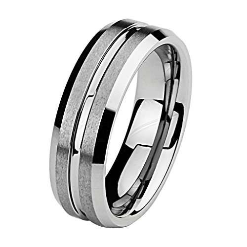 Wellingsale Laser Engraving Service 8MM Luxe Series Comfort Fit Wedding Band Ring with Sporty Black Carbon Fiber Inlay and Smooth Rounded Edges for Men and Women - (Sizes 8.5 to 12.5)
