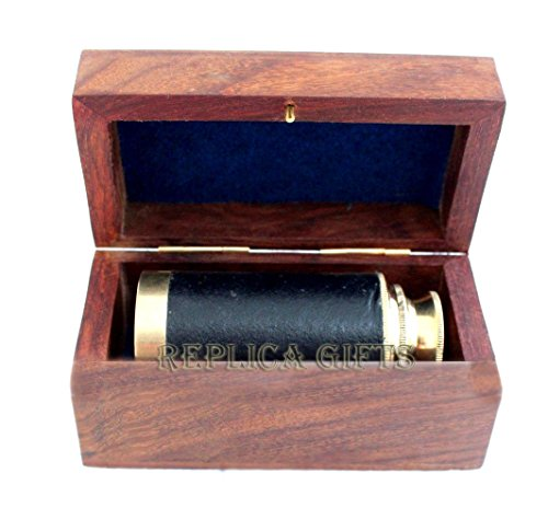 Arsh Nautical Nautical Vintage Maritime Brass 6'' Pirates Spyglass Telescope with Wooden Box E by Arsh Nautical (Image #3)