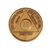 15 Year Bronze AA (Alcoholics Anonymous) – Sober / Sobriety / Birthday / Anniversary / Recovery / Medallion / Coin / Chip