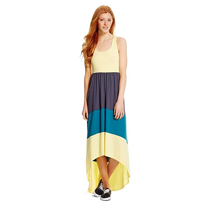 9ca915f7af81 Mossimo Women's Racerback High Low Maxi Dress (M, Yellow/Teal/Charcoal)