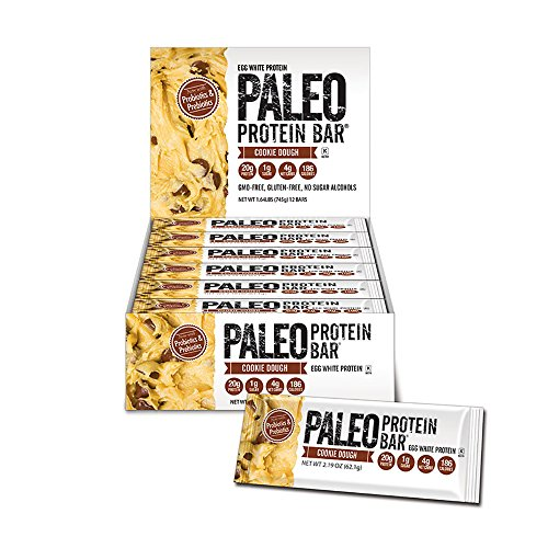 Paleo Protein Bar® (Cookie Dough) 12 Bars (186 Cal 20g Egg White Protein 4 Net Carbs (Chocolate Chunks On Top)