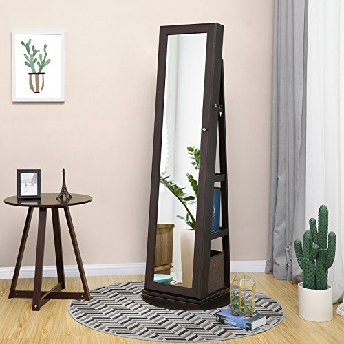 SONGMICS Jewelry Cabinet Armoire 360° Rotatable Higher Mirror, Lockable Jewelry Organizer Mother's Day Gift UJJC62BR by SONGMICS (Image #1)