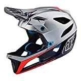Troy Lee Designs Stage Race Full Face Mountain Bike Adult Helmet with MIPS and TLD Shield Logo (Medium/Large, Silver/Navy Blue/Red)