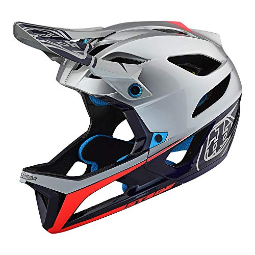 Small Helmet Race (Troy Lee Designs Stage Race Full Face Mountain Bike Adult Helmet with MIPS and TLD Shield Logo (Medium/Large, Silver/Navy Blue/Red))