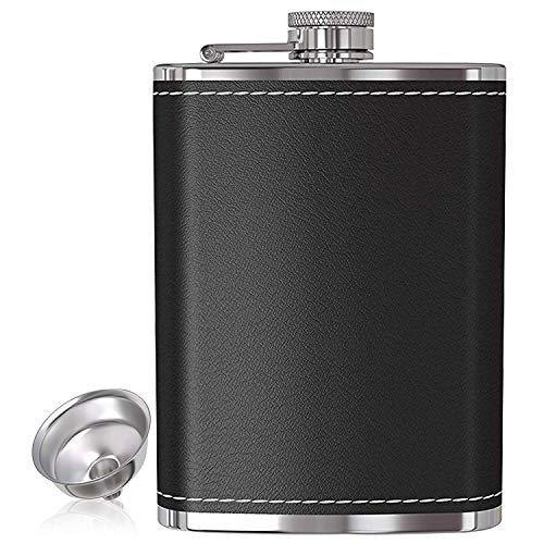 Hip Flask for Liquor and Funnel 8 Oz Leak Proof 304 Stainless Steel Pocket Hip Flask with Black Leather Cover for Discrete Shot Drinking of Alcohol, Whiskey, Rum and Vodka Gift for Men